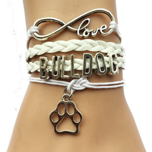 Drop Shipping Eernity Love Bulldog Dog Breeds Paw Bracelet- Best Friend Gift for Pet Tiger Paw Print Charm Lover 3 Colors(China (Mainland))