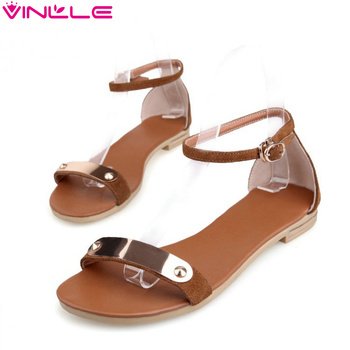 VINLLE 2015 fashion Genuine Leather Women's Sandals shoes Summer flats sandals Peep toe Flower wedding shoes size 34-39