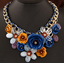 SBY0469 Fashion Elegent chain Chokers chunky big statement Chunky flower Short necklaces(China (Mainland))