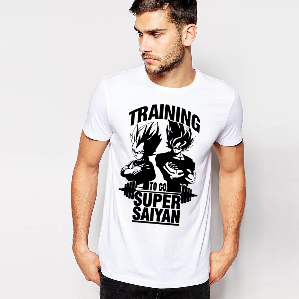 2016 Training To Go Super Saiyan Design Men's T shirt Dragon Ball Goku Z Vegeta Printed Tees Anime Tops 12 Colors(China (Mainland))