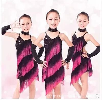2015 New children dance costume , kids latin dance dress tassel dress for girls free shipping wholesaleОдежда и ак�е��уары<br><br><br>Aliexpress