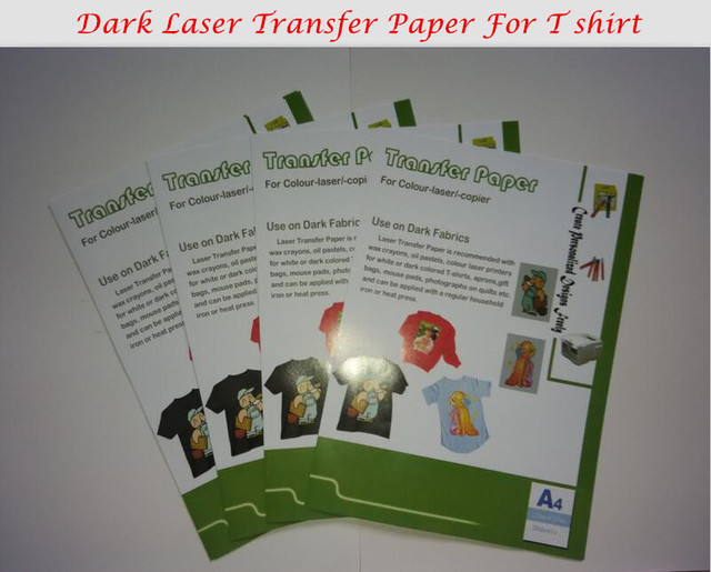 Dark Color 10*A4 Laser Transfer Paper T shirt Fabric Wholesale Thermal Transfers Printing Paper With Heat Press Laser Printer