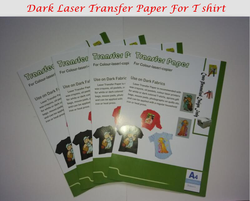 Dark Color 10*A4 Laser Transfer Paper T shirt Fabric Wholesale Thermal Transfers Printing Paper With Heat Press Laser Printer(China (Mainland))