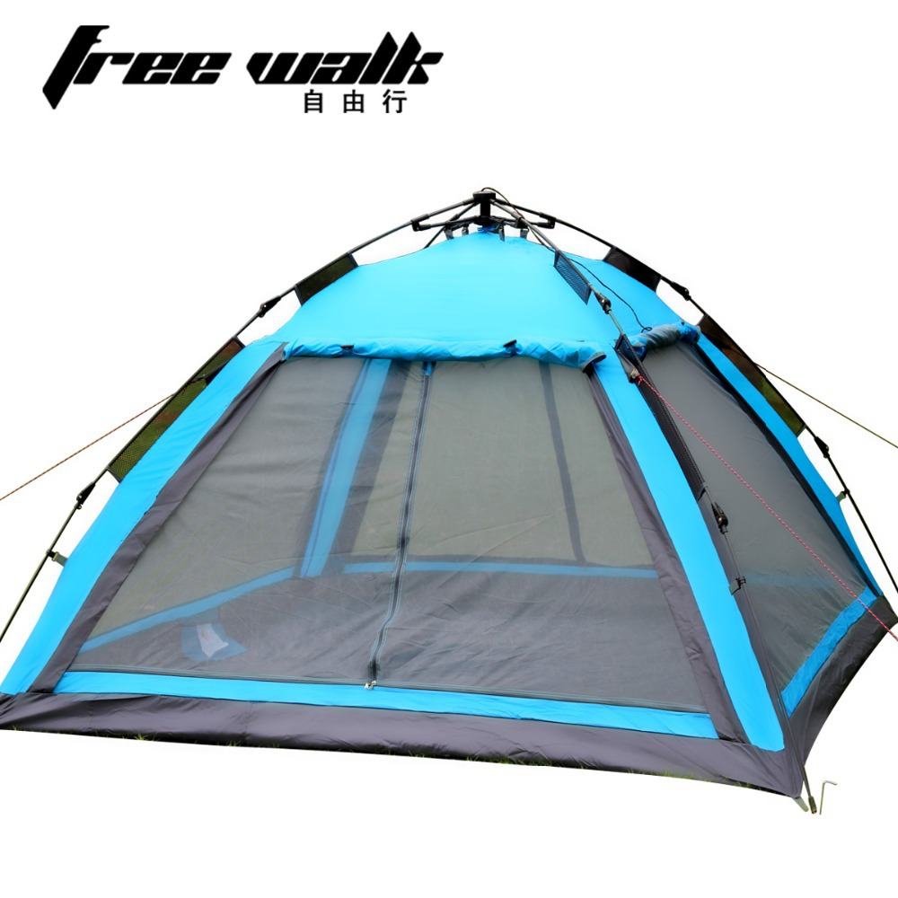 Drop Shipping Outdoor Sightseeing Window Camping Tent Quick Automatic Opening Double Layer Tourist Tents for 3 to 4 Person(China (Mainland))