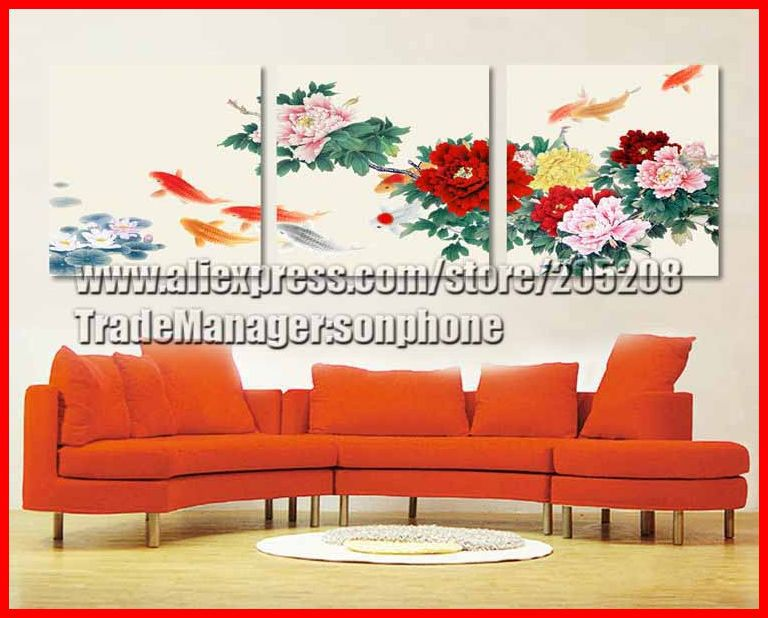 Framed 3 Tableau Peinture Large Chinese Oil Painting quadros Koi Fish Peony Wall Art Picture Feng Shui Home Decoration XD00145(Hong Kong)