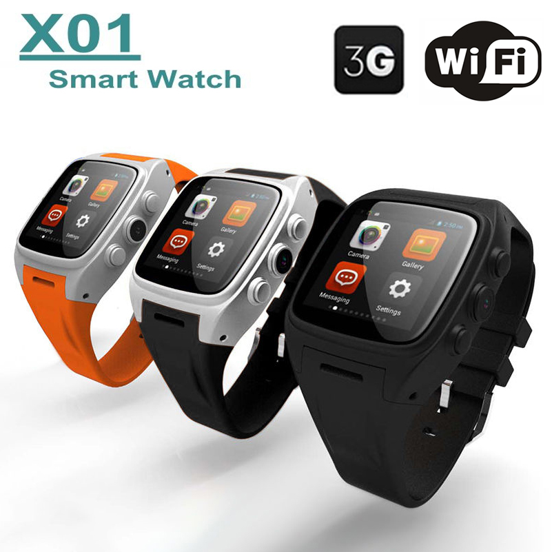 New WiFi Smart Watch X01 Android 4.4 System IPS Dual-Core 3G GPS Waterproof Bluetooth SmartWatch Phone Support SIM TF Card 8001(China (Mainland))
