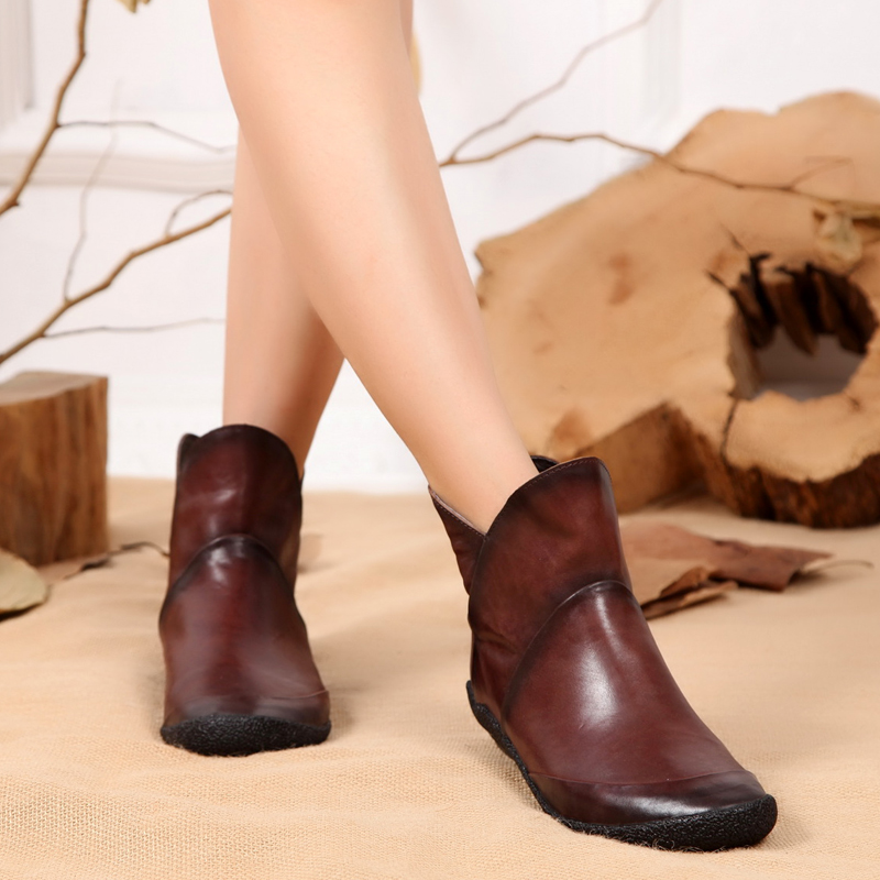 Fashion deep brown / back zipper wedges womens boots genuine leather ankle boots womens casual shoes(China (Mainland))
