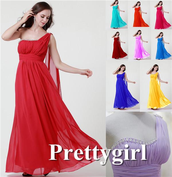 Zj0208 одно плечо красный королевский синий окрашенный шифон длинная ну вечеринку платья подруги невесты макси кристалл блёстки