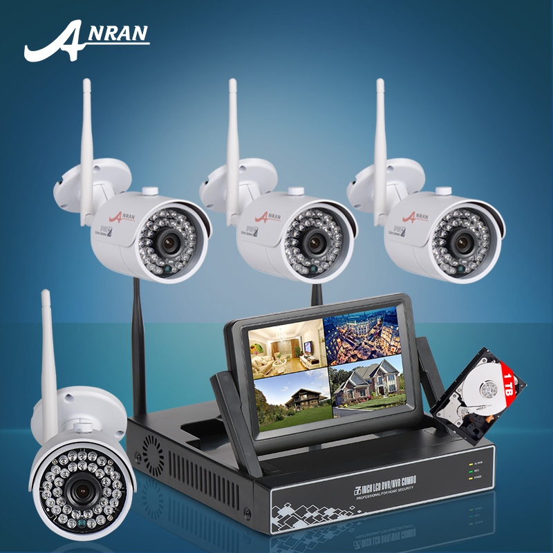 Plug And Play Wireless NVR Kit 7 Inch LCD Screen 1TB HDD 720P HD WIFI IP Camera Outdoor IR Security Bullet Camera CCTV System(China (Mainland))