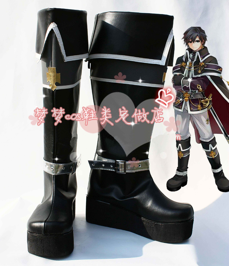 product Tartaros Aelrot Cosplay Shoes Halloween Black High Boots Custom-made