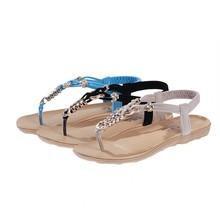 2015 Flat Sandals Fashion Trend Sandals Bohemia National Flat Heel Beaded Female Shoes Hot sale Fashion Cute Sweet Size 35-40