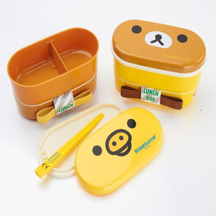 rilakkuma Japanese bento lunch box for kids kawaii double layer Food Container with chopsticks(China (Mainland))