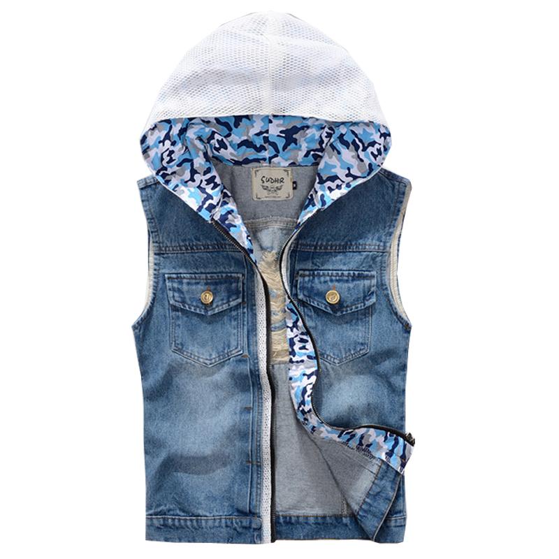 Jean vest jacket wholesale jacket slim fit camouflage in for Mens sleeveless denim shirt wholesale