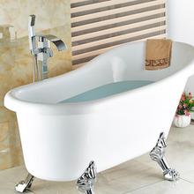 Wholesale And Retail Free Standing Bathroom Bathtub Faucet + Handheld Shower Chrome Finish Single Handle Tub Mixer Taps(China (Mainland))