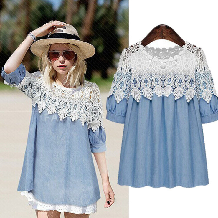 Plus size blue jeans shirt women lace denim shirt for Blue denim shirt for womens