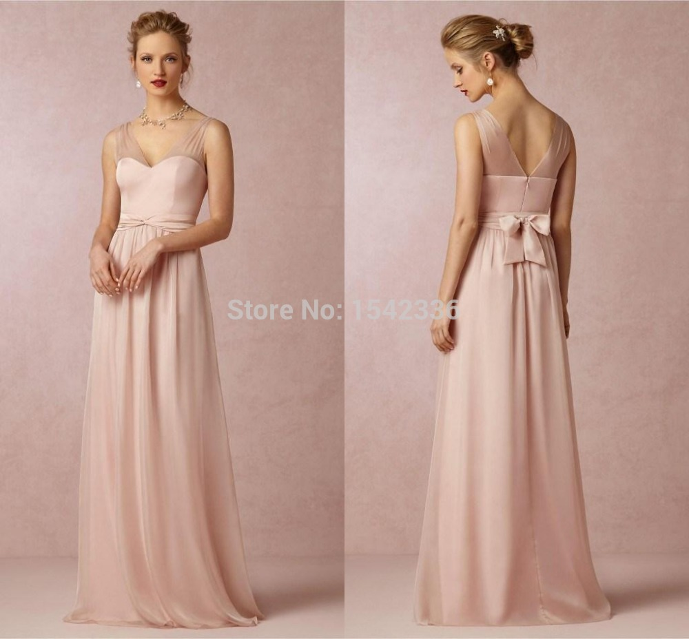 Baby Pink Simple Long Chiffon Bridesmaid Dresses 2015