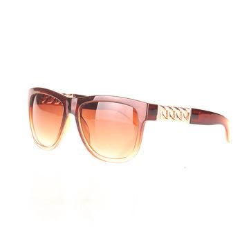 Очки Women новый бросился черный коричневый 2015 для мода солнцезащитные очки полный кадр украшены металлической цепью красивая атмосфера