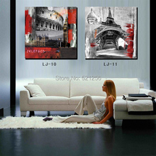 Modern Wall Art Home Decoration Printed Oil Painting Pictures No Frame 3 Piece Rome Colosseum Eiffel Tower Landscape Paintings(China (Mainland))