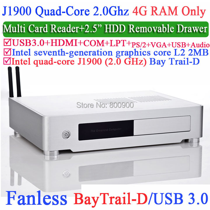 aluminum small computer with Intel Quad-Core J1900 Bay Trail-D 2.0Ghz USB 3.0 COM LPT DirectX 11.0 4G RAM Only(China (Mainland))