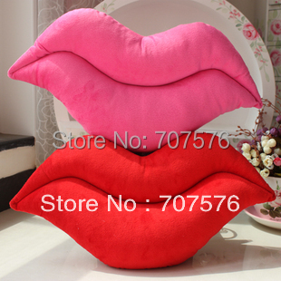 Free Shipping Living Room Chair Cushion Plush Cloth Sexy Red Lip Pillow  Car Seat  Wedding Gift 28*53cm Pink/Red