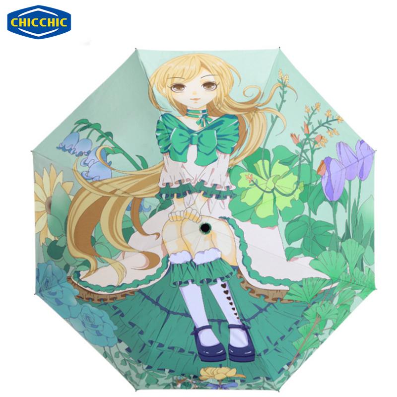 [CHICCHIC]2016 New Teenage Girl Personality Cartoon Umbrella Folding Anti-UV Sun/Rain Umbrella Rain Density Waterproof ZH0276(China (Mainland))