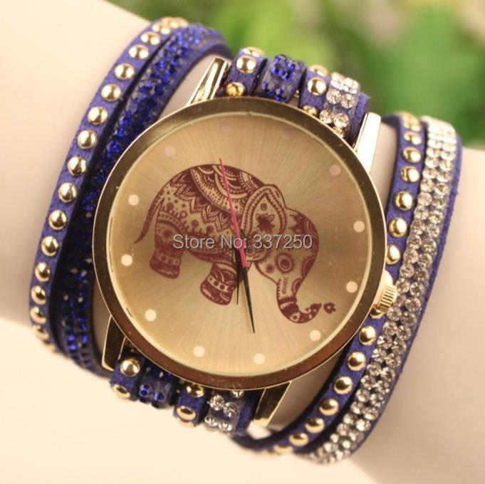 2015 New ladies luxury elephant rhinestone wrap bracelet quartz wristwatches women dress watches relogio feminino montre femme(China (Mainland))