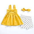 2017 summer girls solid red pattern party princes dress  bowknot clothes  baby cotton evening party top birthday gift for 12M-3T