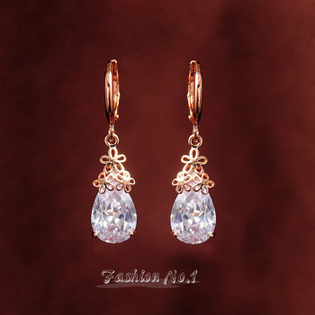 Free Shipping CZ Diamond Clear Cyrstal Dangle Drop earrings 18k Gold Plated Flower Pierced Women Long Earring Jewelry