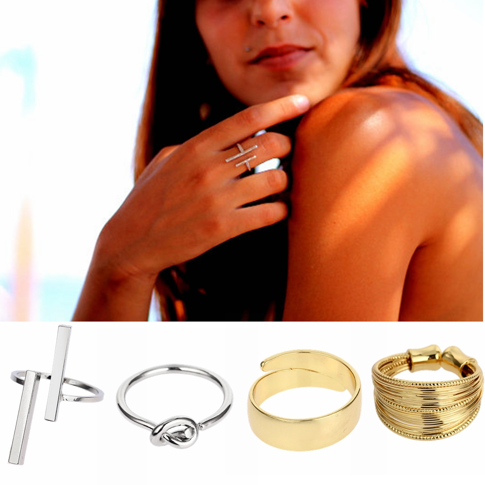 New 12 Styles Women Men Rings Double Bar Parallel Open Knot T Adjustable Jewelry Golden Silvery Copper Minimalist Alyans Aros(China (Mainland))