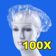 Free Shipping 100pcs Disposable Hat Hotel One-Off Elastic Shower Bathing Cap Clear Salon NG4S(China (Mainland))
