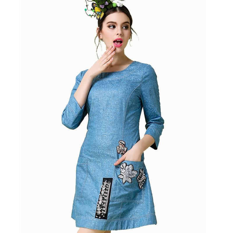 Fashion Women Elegant Dress Jeans Spring Autumn Cotton Linen Dresses Big Sizes 3XL 4XL 5XL Cheap Clothes China Alibaba Express(China (Mainland))