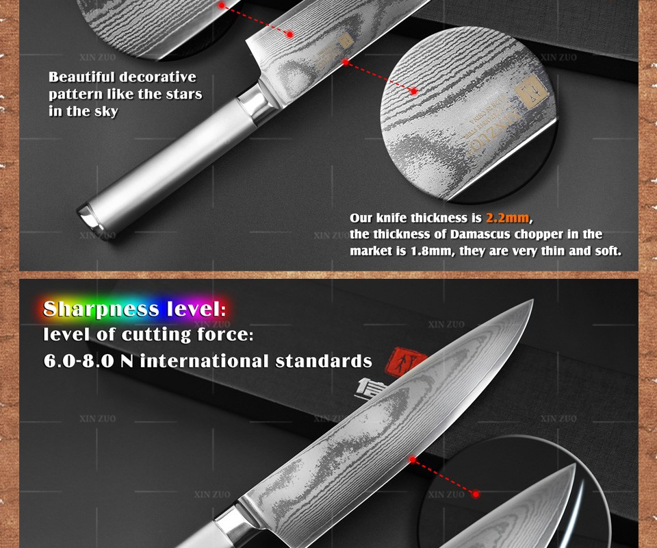 Buy XINZUO 8 inch chef knife  sharp chef knife Japanese 73 layer VG10 Damascus steel kitchen knife  steel handle free shipping cheap