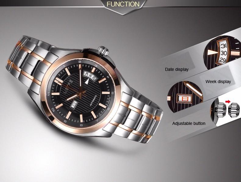 Марка Классическая Мода Бизнес Часы мужские Автоматическая Нержавеющей Стали 316L Наручные часы Сапфир Маховик Календарь Dual Time