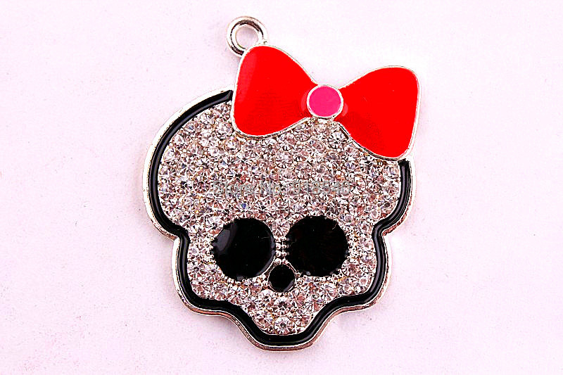 40*38MM 10pcs/lot AAA Quality red bow Skull Rhinestone Pendant for kid's Necklace Jewelry(China (Mainland))