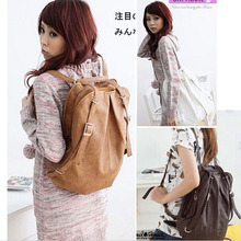 Free shippng 100pcs lot Fashion Korean Style Girls PU Leather Backpack Schoolbag Shoulders Bag Camel Coffee