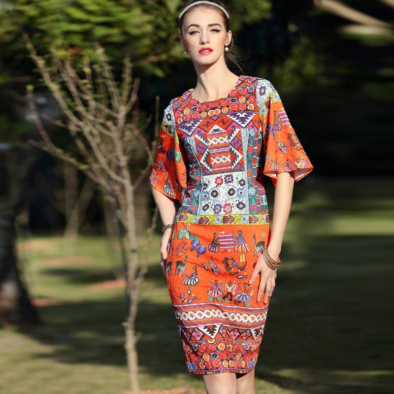 Exotic Dress New 2016 Spring Summer Brand Top Grade Jacquard Cotton Retro Colorful Print Flare Sleeve Knee-length Elegant DressОдежда и ак�е��уары<br><br><br>Aliexpress