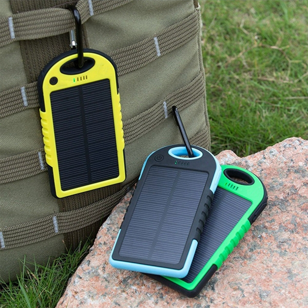Dual-USB Waterproof Solar charger 5000mah Power Bank Drop resistance portable Charger Travel External Battery For smartphone(China (Mainland))