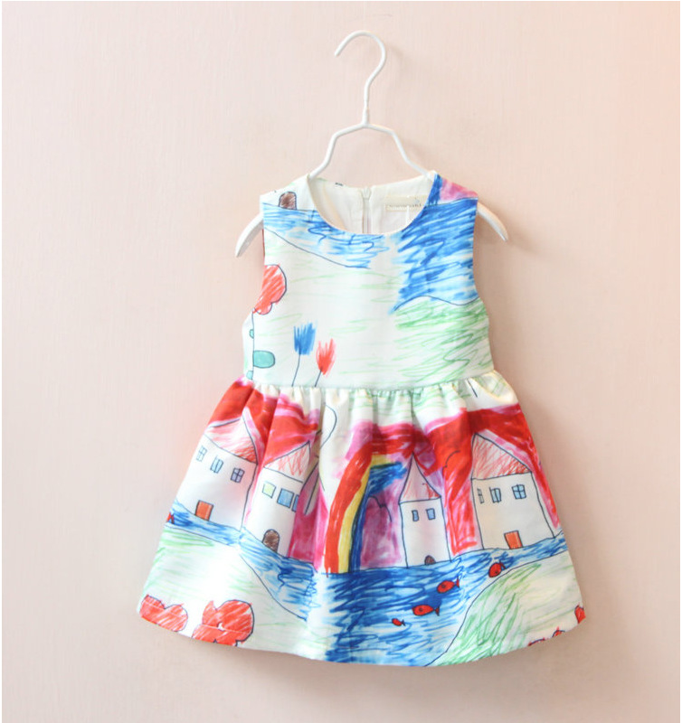 2016  Girls Dresses Baby Girl Clothes Character Painting Brand Easter Dress Princess Children Dress Kids Dresses for Toddler<br><br>Aliexpress