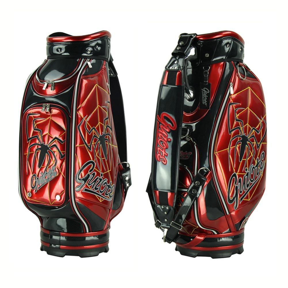 Guiote 7-pocket Spider Golf Cart Bag 10 PU Leather Golf Staff Bag Standard Ball Package Bag Rainhood<br>