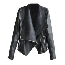 2015 New Fashion Autumn Winter Women Brand Faux Leather Jacket Black Blazer Retro Motorcycle Slim Jacket Outwear Plus Size 3XL(China (Mainland))