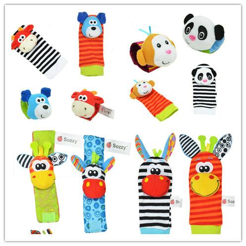3 design (4pcs=2 pcs waist+2 pcs socks )baby rattle toys Wrist Rattle and Foot Socks Finders Developmental(China (Mainland))