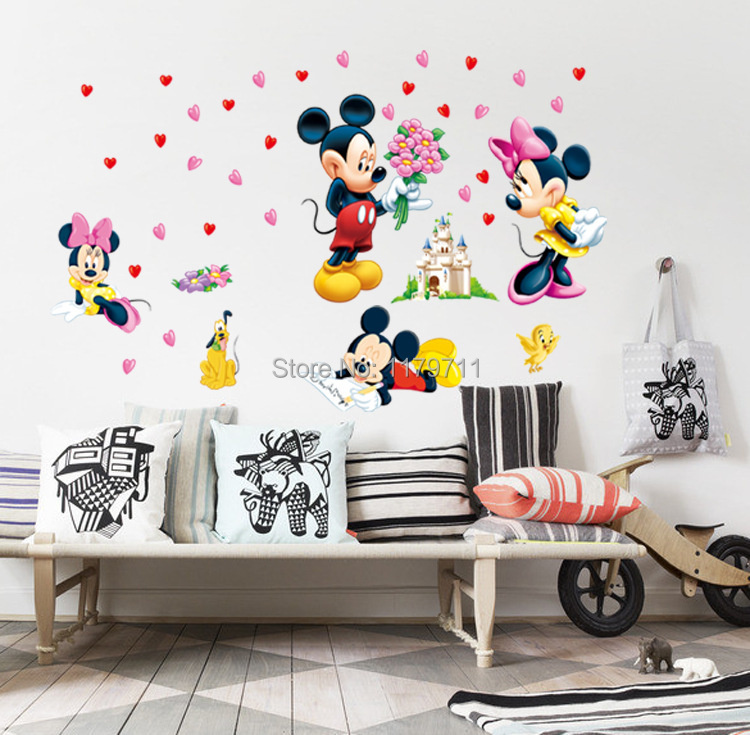 mickey mouse and minnie mouse wall sticker children room nursery decoration diy adhesive mural removable vinyl wallpaper XY8126(China (Mainland))