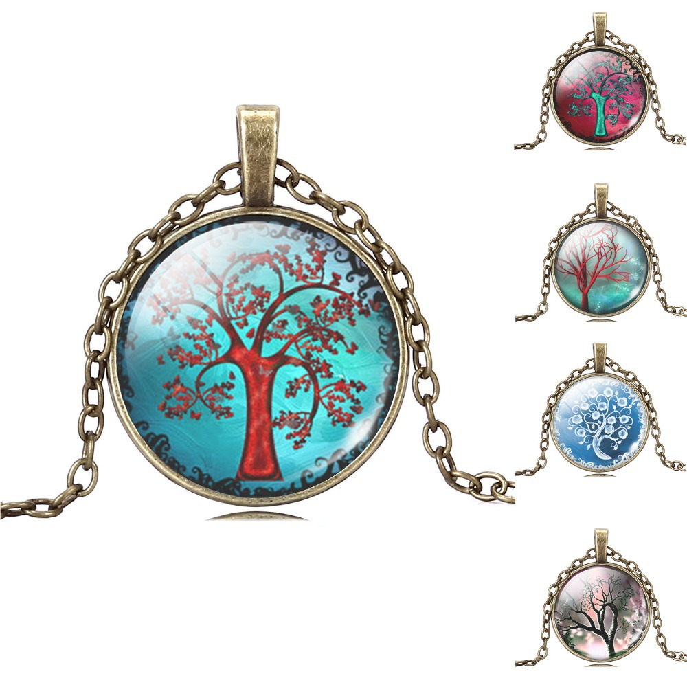 antique Bronze chain hope life tree chock necklace glass cabochon necklace pendant necklace art picture women fashion jewelry(China (Mainland))