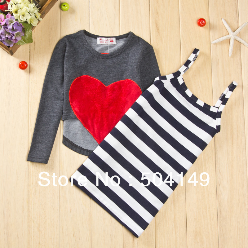 Free shipping Wholesaler Spring Autumn dresses suits girls clothing sets two-piece children clothes wearing 5sets/lot(China (Mainland))