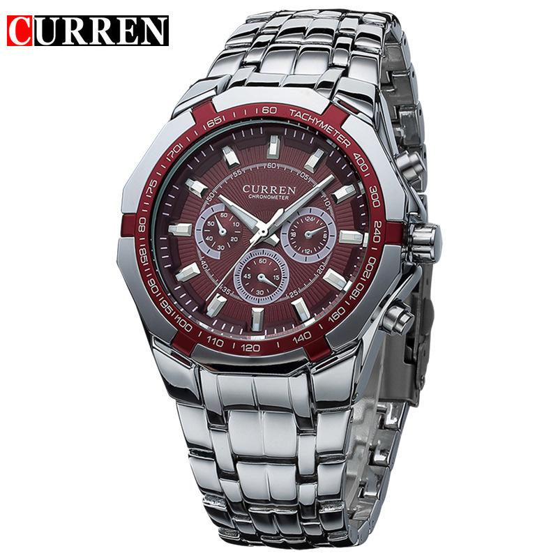 Curren 8084 Mens Business Watches Original Brand Full Steel Wrist Watches Big Eight Corners Face Japan Movement Quartz Relogios(China (Mainland))