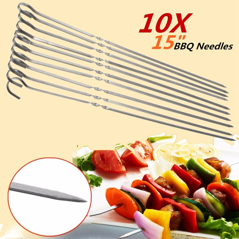 10PCS 38cm Stainless Steel BBQ Barbecue Roast Kabob Grilling Grilled Needles Flat Shish Skewers Ring Tip Handle Gadget Cutlery(China (Mainland))