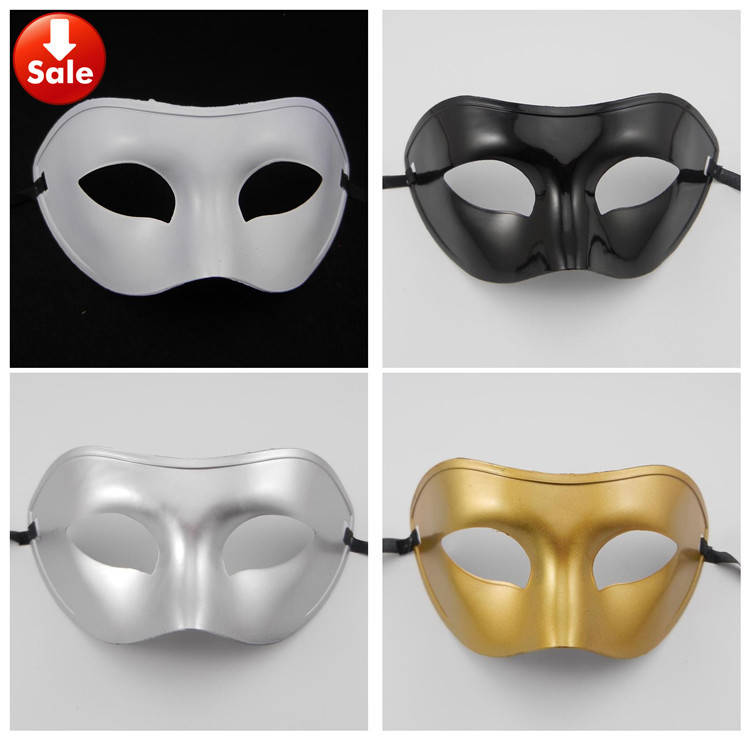 simple man mask Venetian masquerade party Carnival Halloween costume gold silver white black Christmas gift free shippping - Caly Tao's store