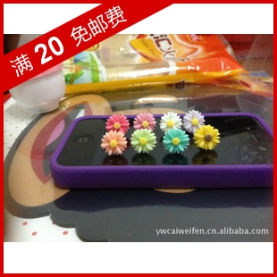 Chrysanthemum bow dust plugs for iphone 4 dust plug mobile phone dust plug chrysanthemum flower resin(China (Mainland))