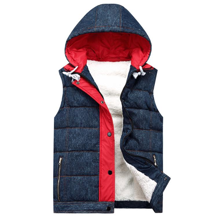 Foreign selling men's winter 2015 Slim cotton denim vest hooded vest jacket male factory outlets