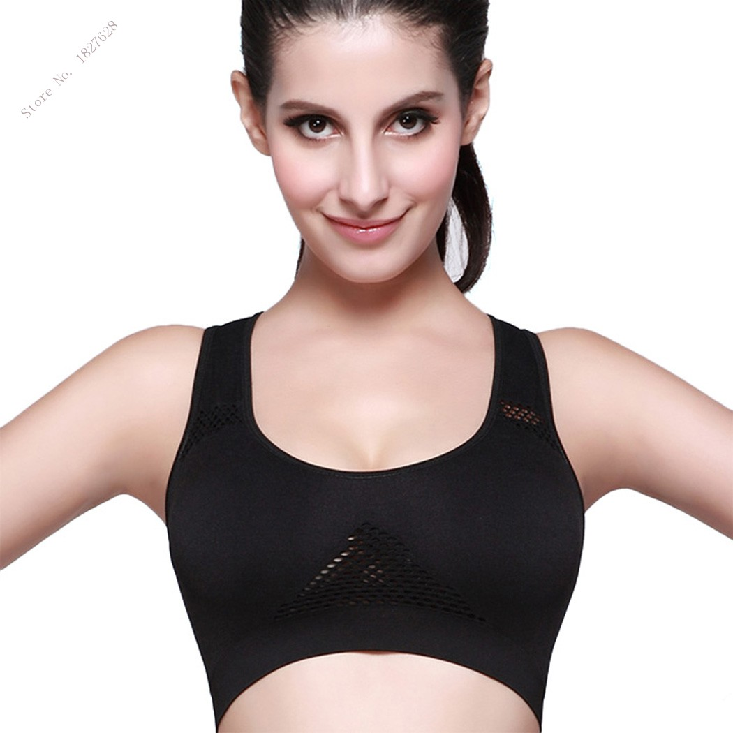 women basic hollow out padded bra elastic removeable pads sports yoga crop tops vest in sports. Black Bedroom Furniture Sets. Home Design Ideas